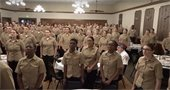 Naval Station Great Lakes recruits enjoy a Thanksgiving meal at the Villa Park VFW on Thanksgiving Day 2015.