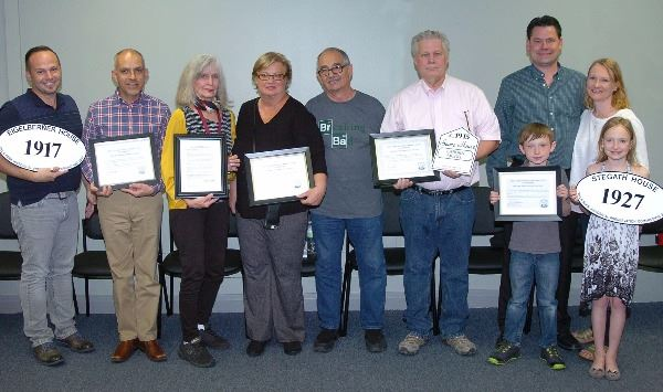 2017 Historical Preservation Award Recipients with Historical Preservation Commissioner Carol Marcus