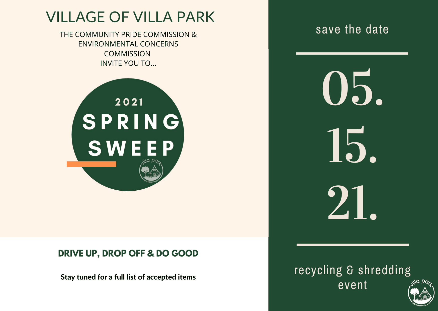 Save the Date Spring sweep