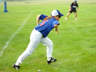 Chicago Commet Player Running the Bases