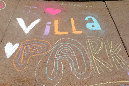 I -heart- Villa Park, Written on the Sidewalk