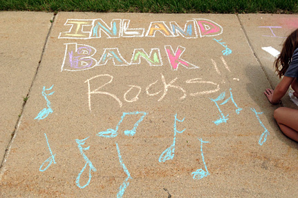 Inland Bank Rocks, Written on the Sidwalk