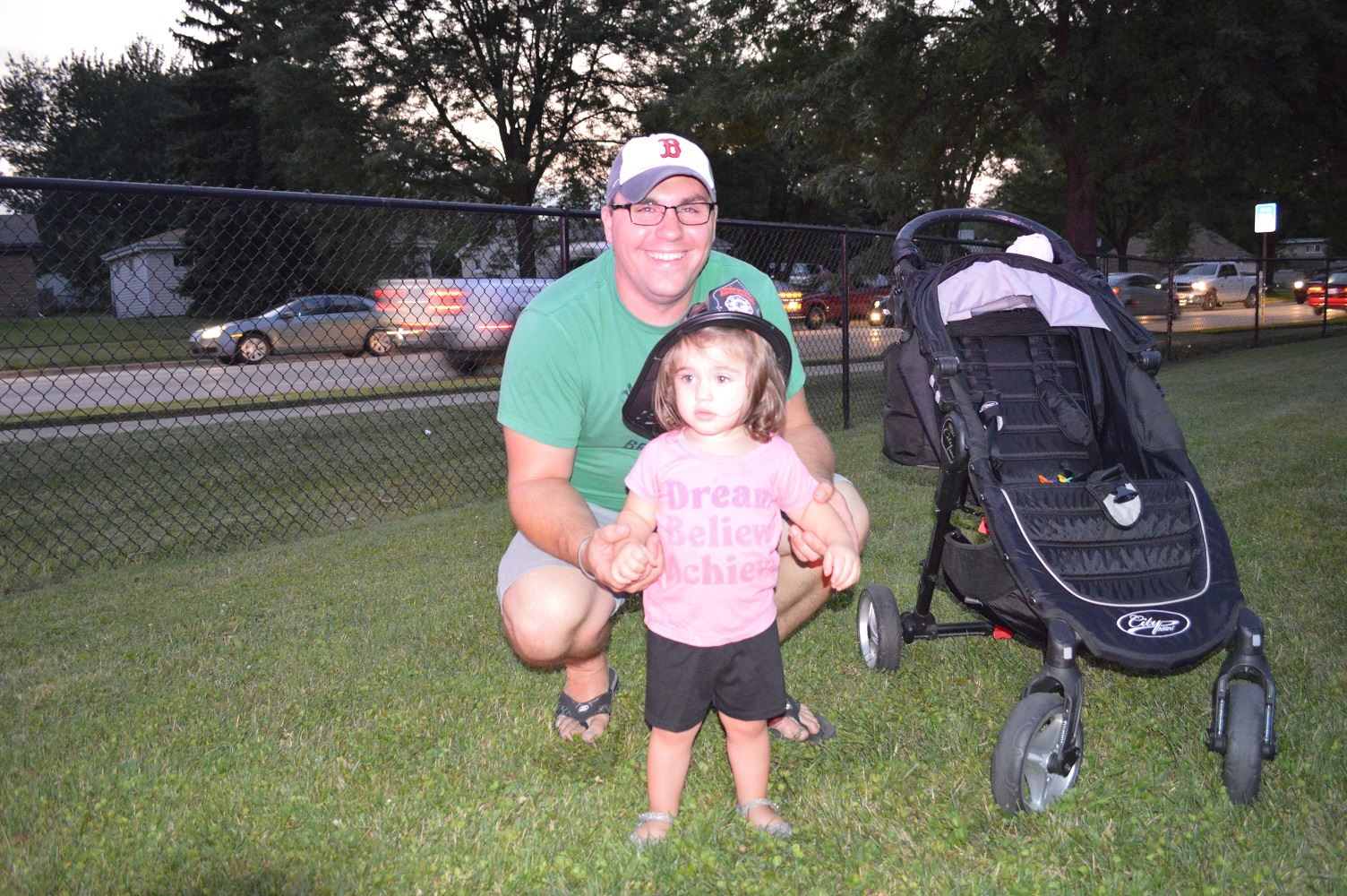 A Father and daughter pose for photo at National Night Out 2016 event in Villa Park.