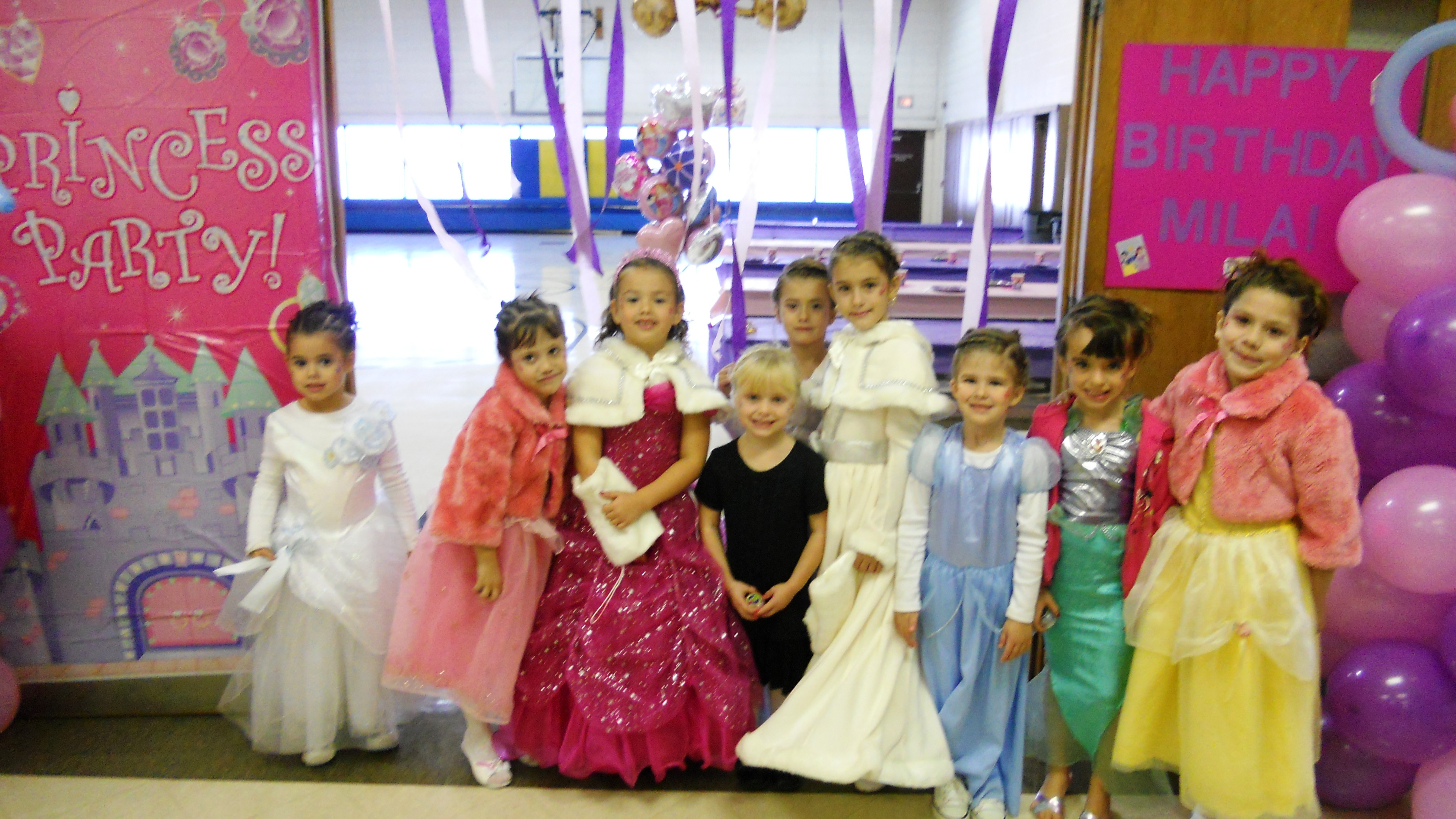 Group of Young Girls Having a Princess Birthday Party