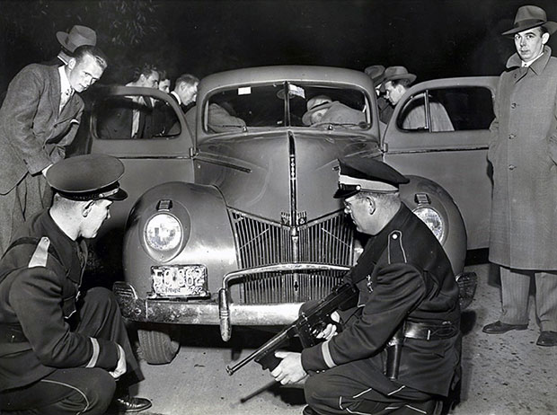 Historical Photo of Villa Park Police with Recovered Automobile Opens in new window
